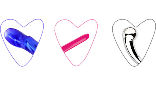 Three body-safe sex toys in heart frames