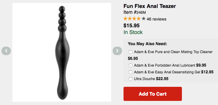 """Screencap of an Adam&Eve product listing featuring a """"Fun Flex Anal Teaser"""" with no base for safety"""